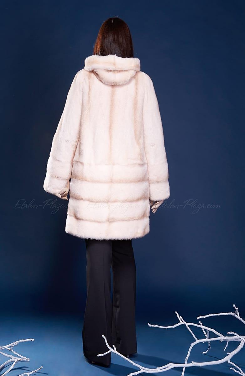 Women's mink fur coat with hood