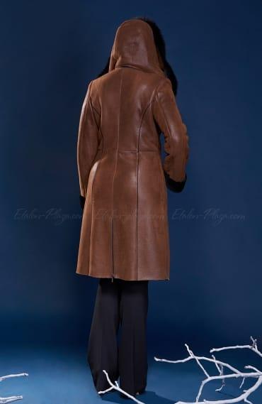 Women's Sheepskin coat with suede hood
