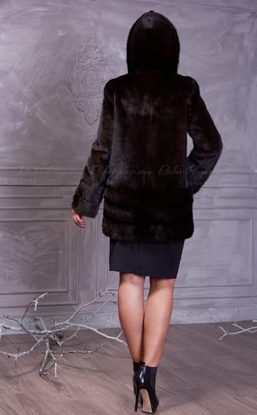 Women's fur coat with hood