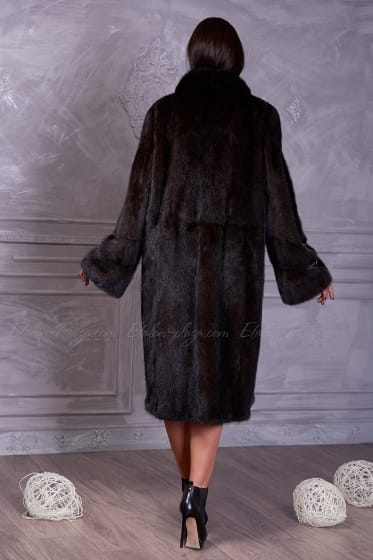 Women's brown mink fur coat