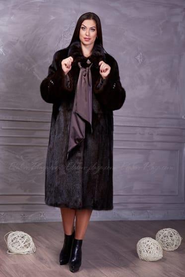 Women's brown mink fur coat