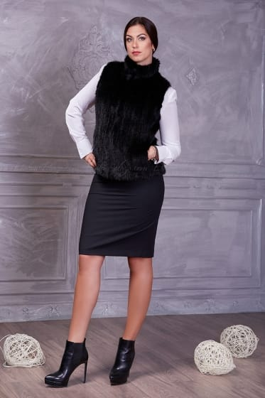 Women's Black mink fur vest