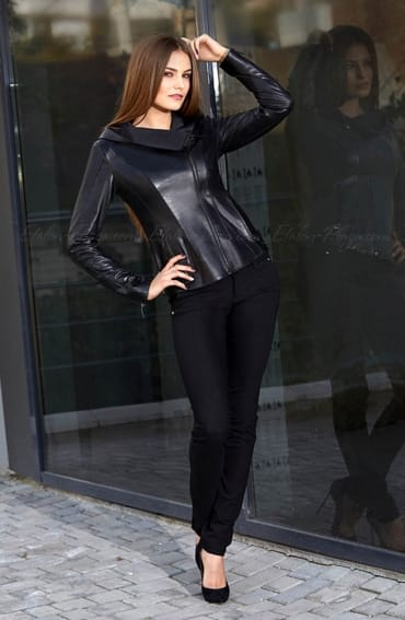 Women's leather jacket with hood