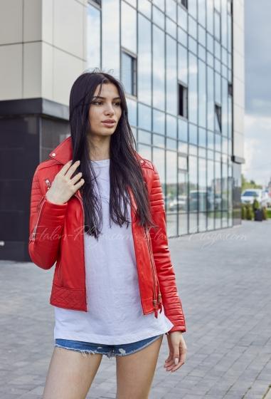 Червона шкіряна куртка К1330