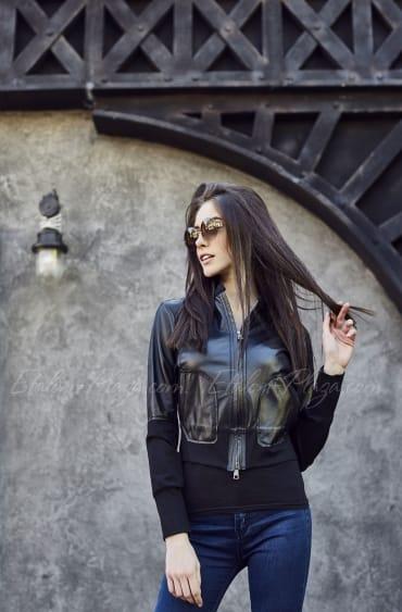 Leather female jacket K1203