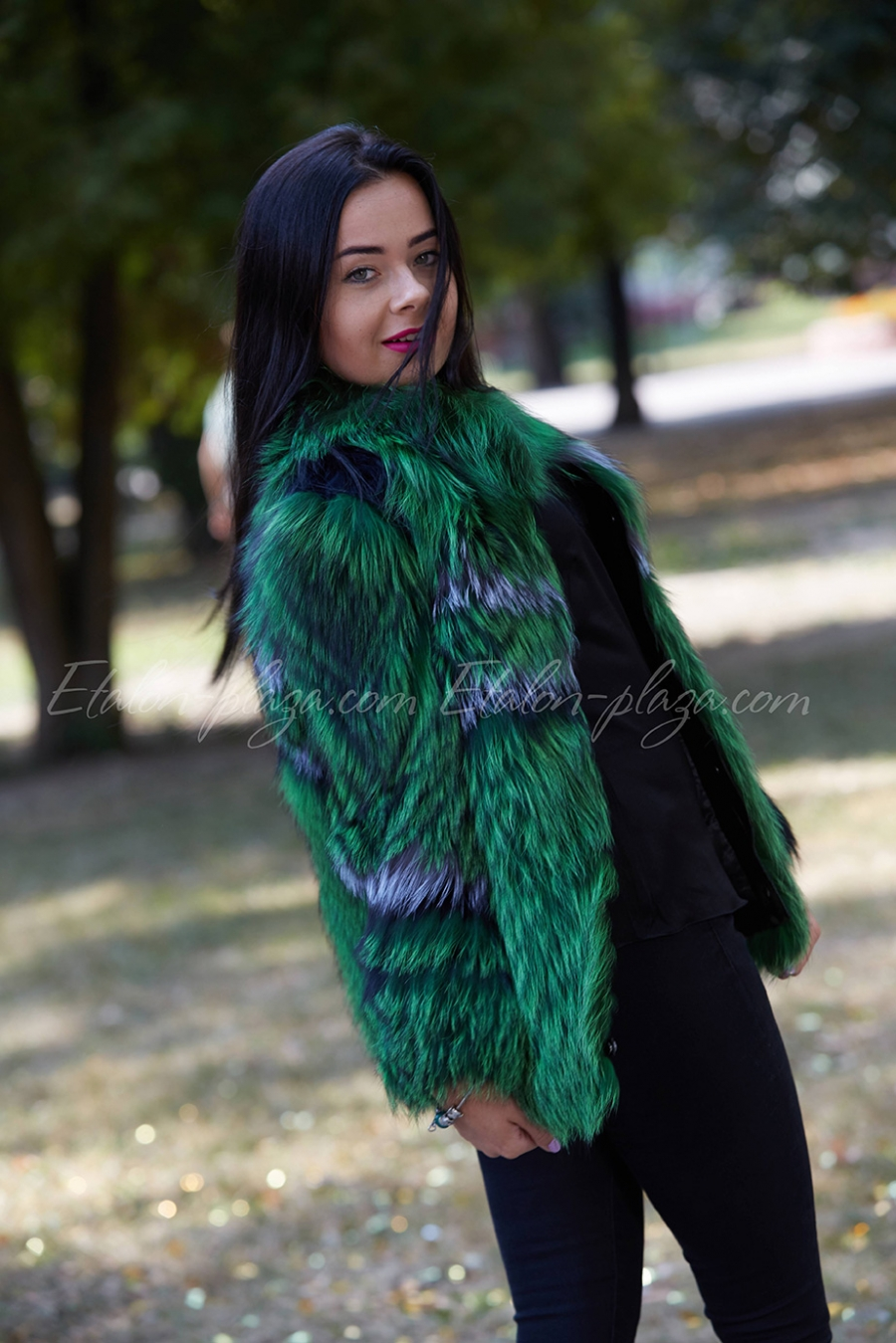 Women's silver fox fur coat