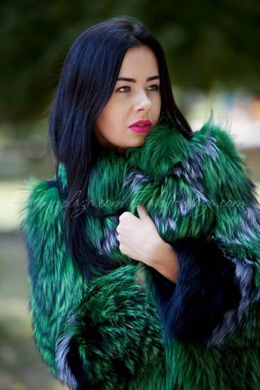 Women's silver fox fur coat