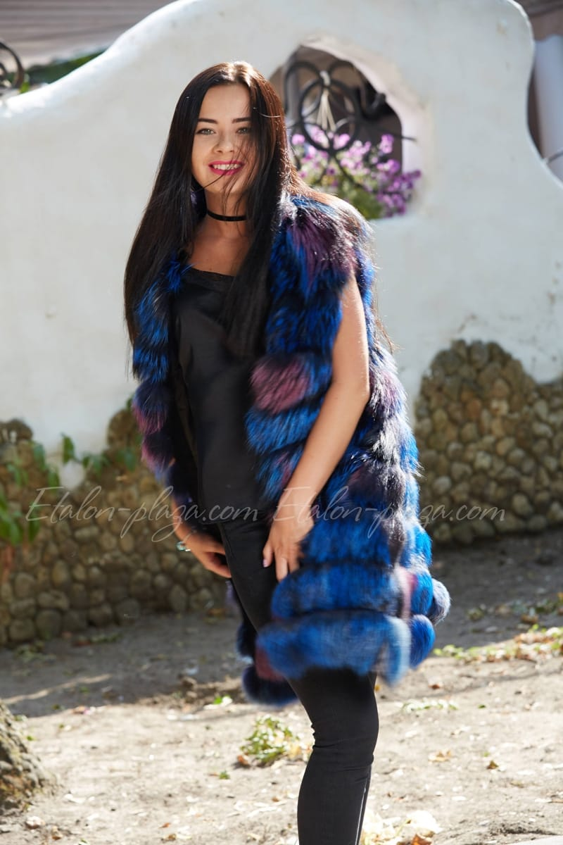 Women's silver fox fur vest