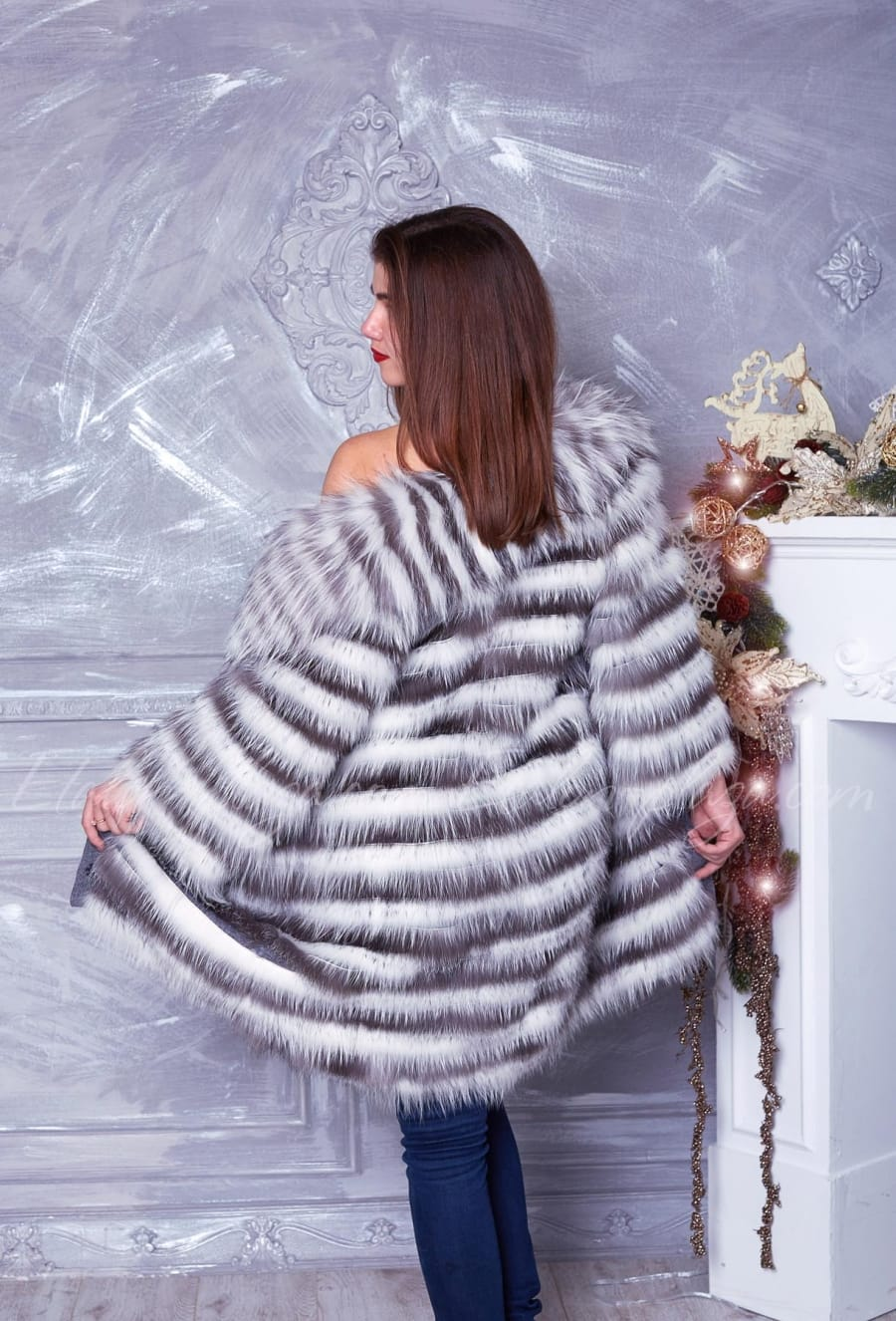 Women's fur coat with vest