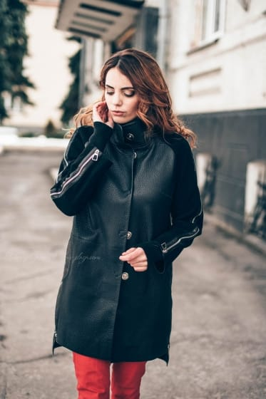Women's Leather Cloak P1197