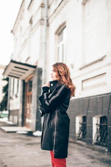 Женский кожаный плащ П1197