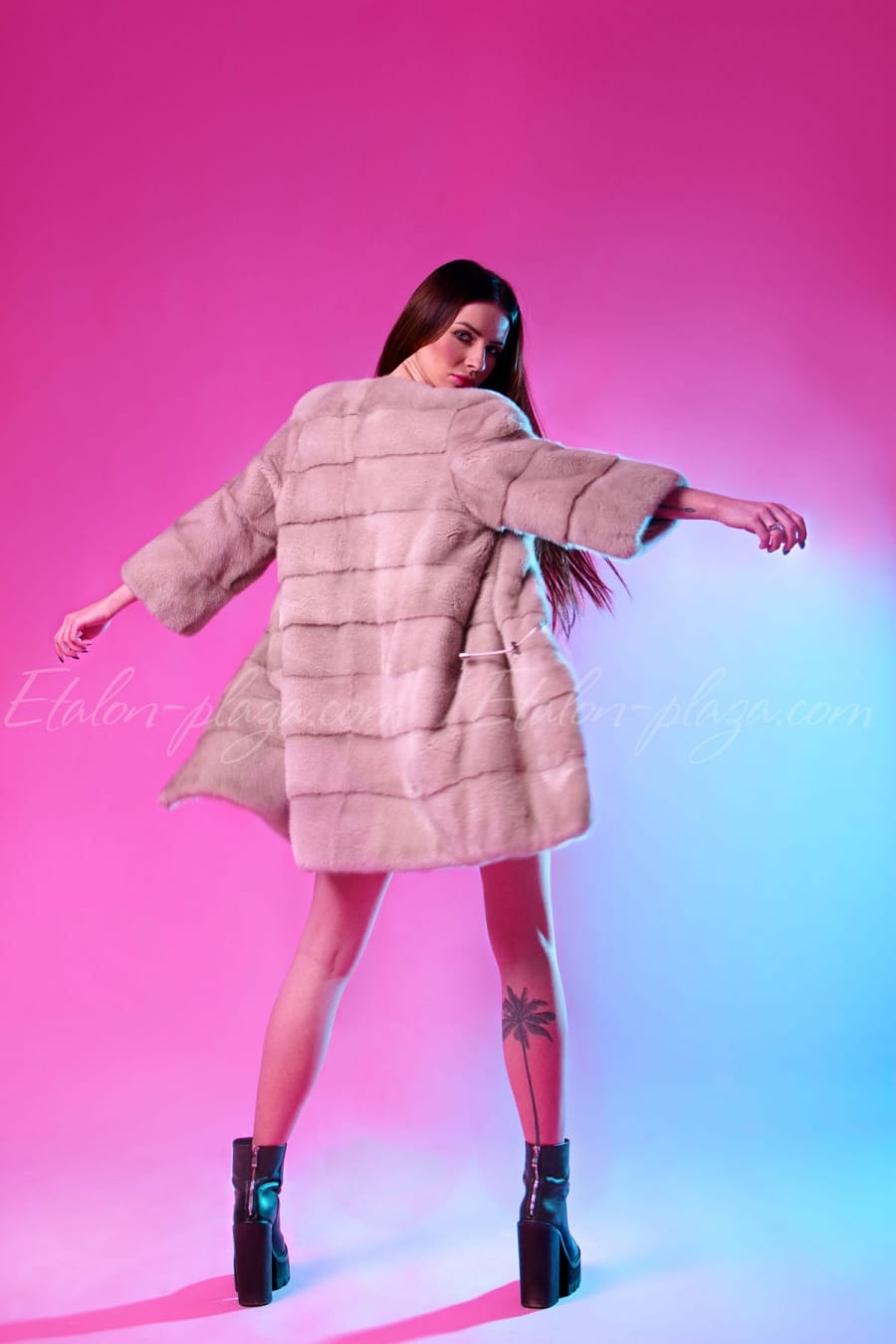 Mink fur coat for women