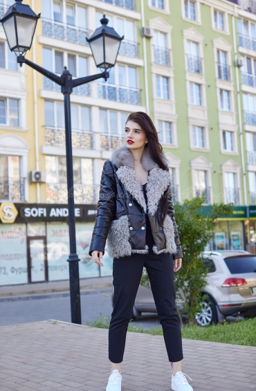 Женские куртки с мехом песца К1312