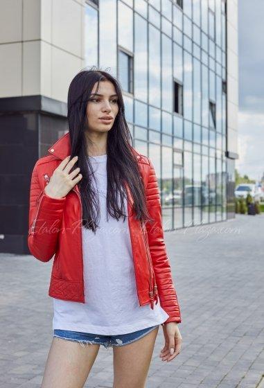 Красная кожаная куртка К1330