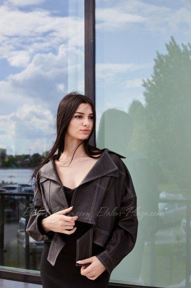 Куртка женская кожаная чорная К1334